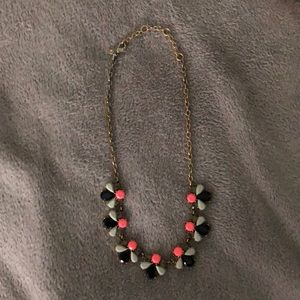 Like new J. Crew pink gray navy statement necklace